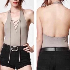 Kendall & Kylie Lace Up Halter Tank Top